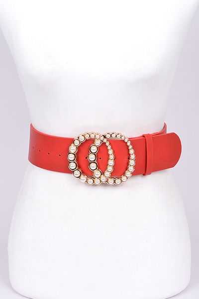 Circle Pearl Buckle Belt
