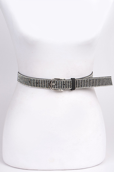 Thin Rhinestone Buckle Belt