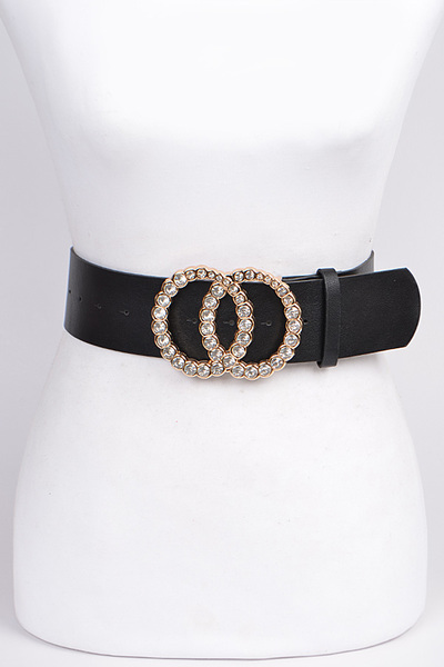 Rhinestone Filled Double Ring Belt