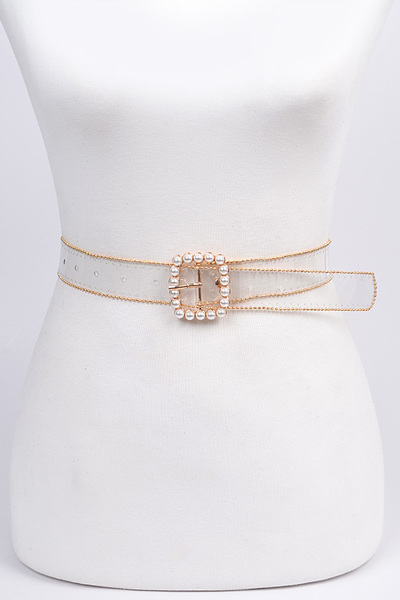 Bead Frame Belt With Pearl Buckle