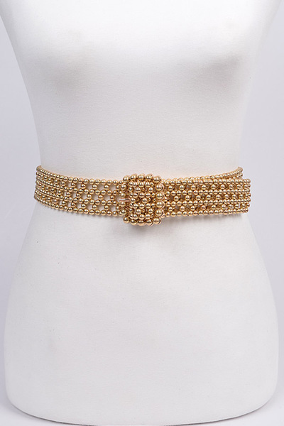 Knit Beads Buckle Belt