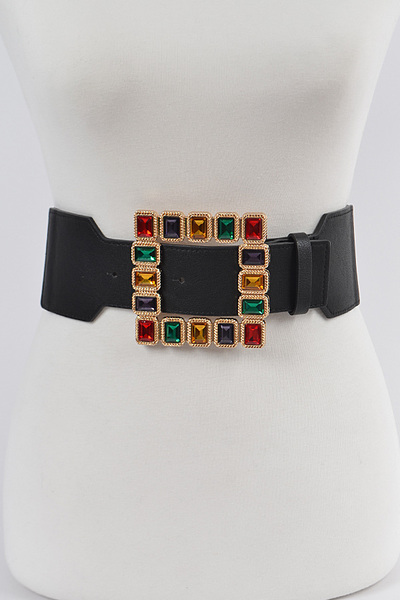Square Shape Glass Buckle Elastic Belt