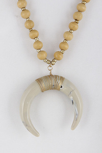Crescent Pendant Beaded Necklace