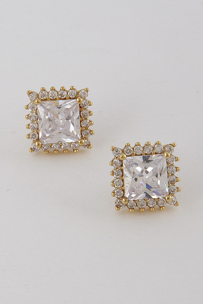 Luxury Square Rhinestone Stud
