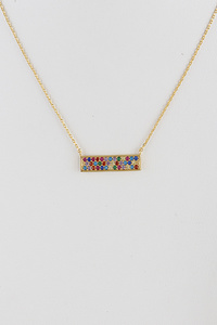 Rectangle Zirconia Necklace