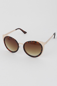 Mixed Material Cat Eye Sunglasses