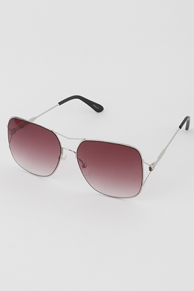 Wire Aviator Sunglasses With Square Lens