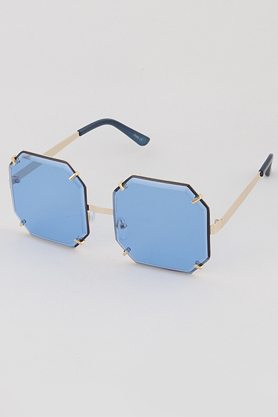 Gold Rim Pentagon Sunglasses