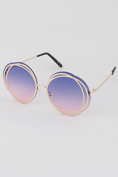 Gold Round Rime Sunglasses