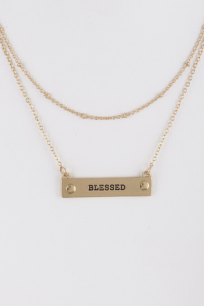 Blessed Written Layered Necklace