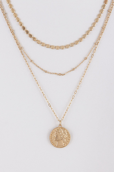 Layered Necklace With Coin Detail