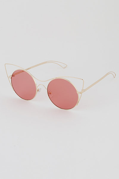 Tinted Gold Rim Round Sunglasses