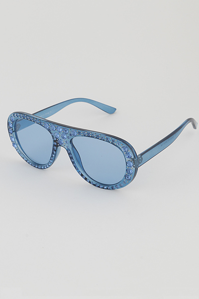 Around Of Rhinestones Aviator Sunglasses