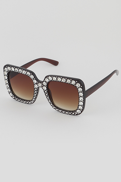 Beaded Frame Square Sunglasses