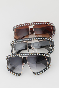 Rounds Of Pearl Beads With Unique Frame Fashion Sunglasses