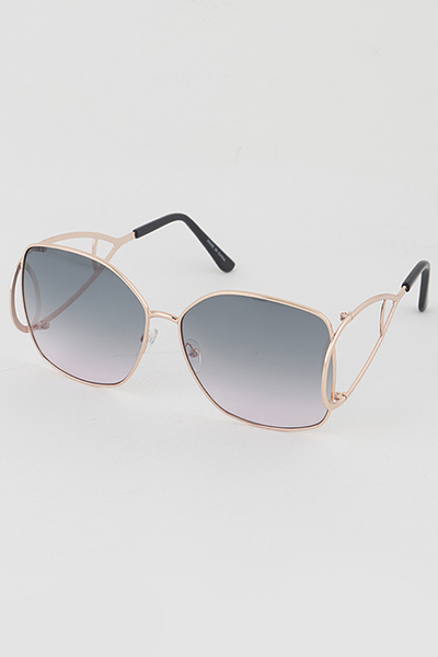 Gold Rim Tinted Big Eye Rectangle Sunglasses