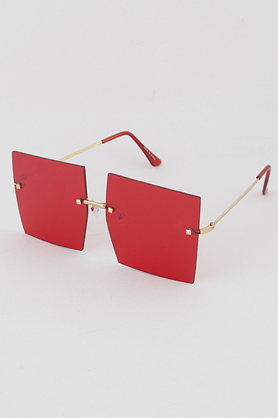 Gold Rim Big Eye Square Sunglasses