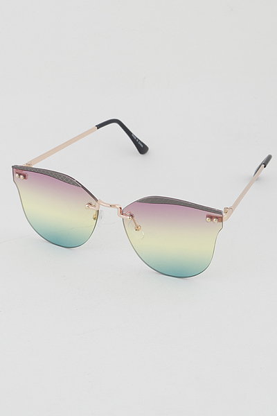 Gold Rim Half Framed Cat Eye Fashion Sunglasses