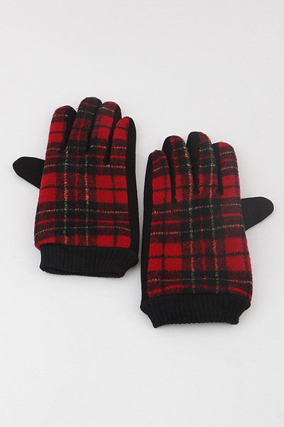 Plaid Knit Gloves