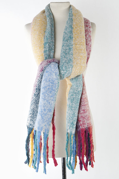 Soft Color Mixed Fringed Scarf