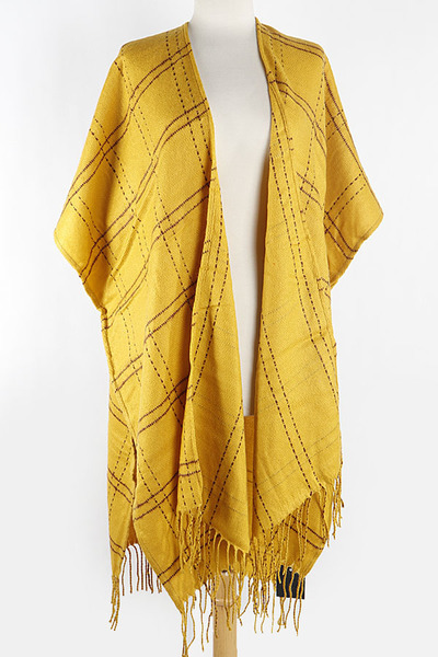 Stitched Pattern Cape Scarf