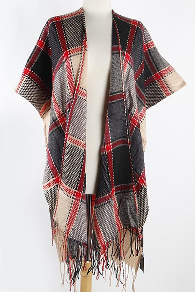 Stitched Check Pattern Cape Scarf