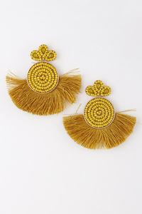 Asian Style Earrings With Stones & Tassel