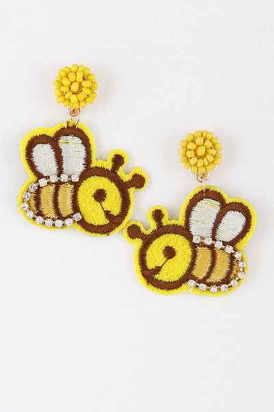 Embroidered Bee Earrings
