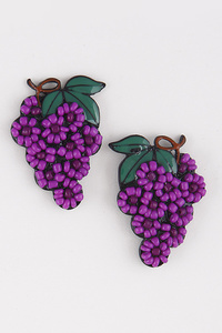 Grape Beaded Earrings