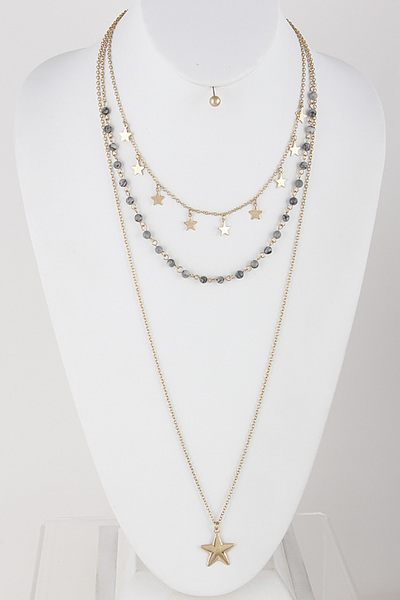 Star and Bead Layered Necklace