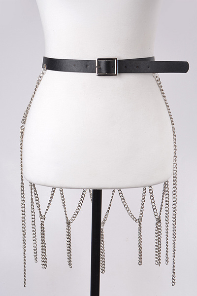Leather Belt with Chain Skirt