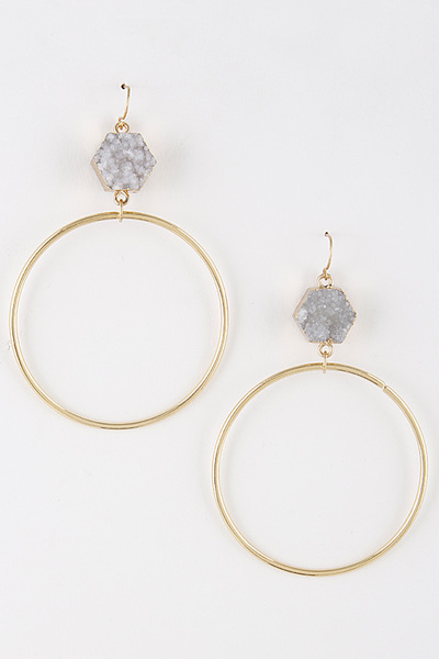 Thin Hoop Earrings With Small Druzy Stone