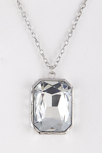 Elegant Rectangle Crystal Pendant Long Necklace