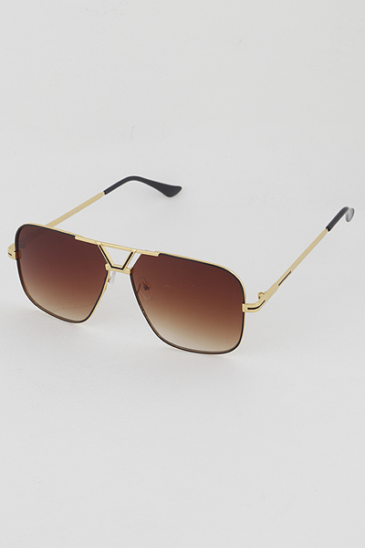 Gold Rim Big Eye Aviator Rectangle Sunglasses