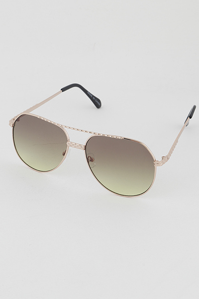 Gold Rim Aviator Tinted Round Fashion Sunglasses