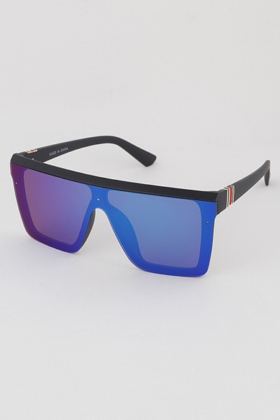 Exposed Lenses Rectangle Sunglasses