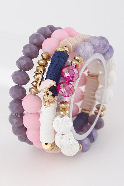 Colorful Bracelet Set With Flamingo Detail