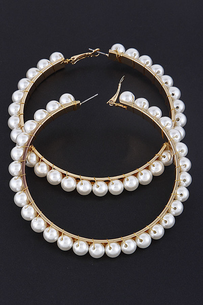 Hoop Pearl Beaded Earrings