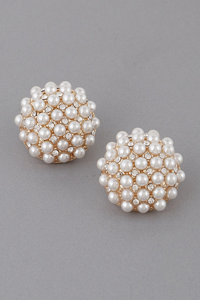 Pearl Round Stud Earrings