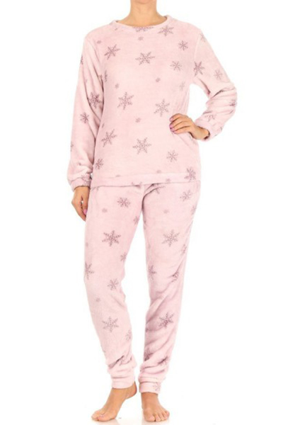 2-Piece Double Side Plush Pullover + Joggers Pajamas Set