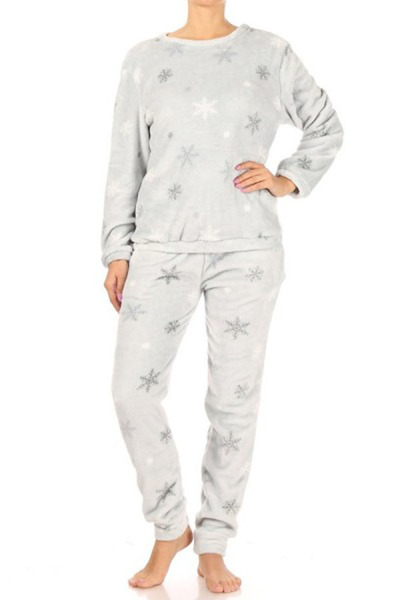 Womens 2-Piece Double Side Plush Pullover + Joggers Pajamas Set