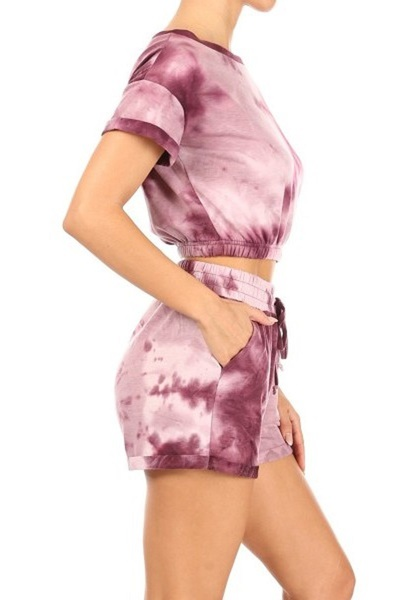 Womens 2-Piece Sets Elastic Hem Cropped T-Shirt With Matching Shorts