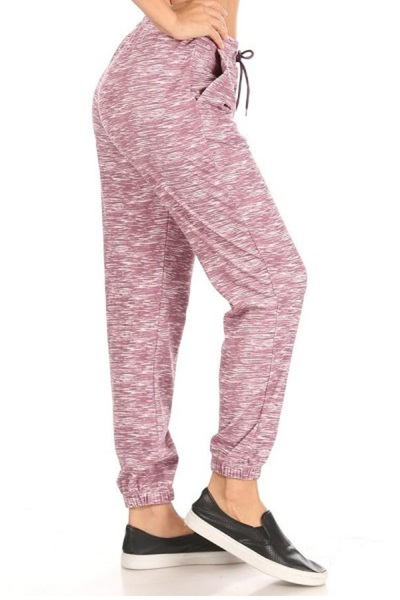 Womens Stretch Knit High Waist Joggers Sweatpants