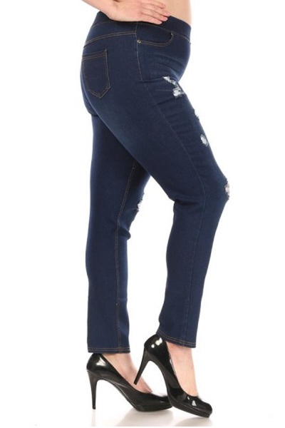 Womens Plus Size Distressed Denim Jeggings