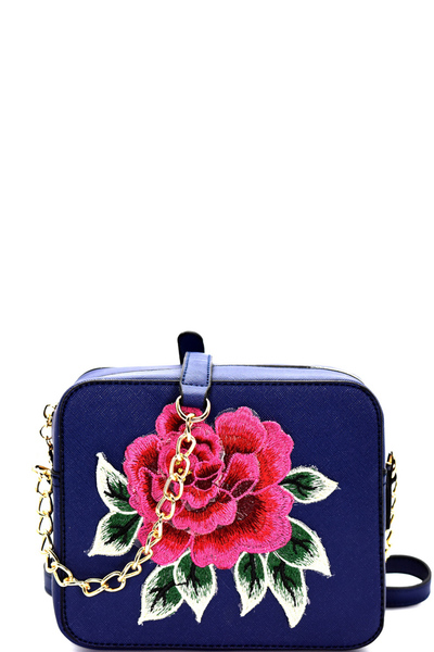 Flower Embroidery Saffiano Boxy Cross Body