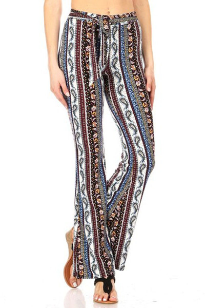 Soft Brushed Printed Flare Pants With Waist Tie