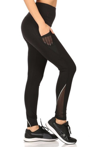 High Waist Tummy Control Leggings Mesh Pockets