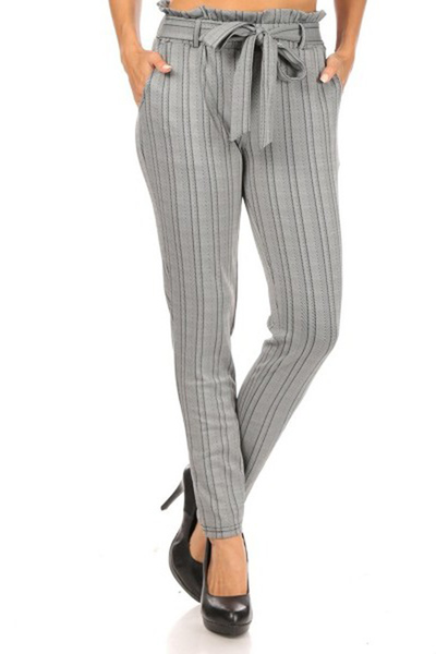 Paperbag Waist Pants With Waist Tie