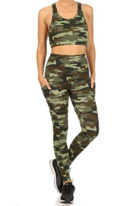 2-Piece Set Crop Tops & High Rise Sports Leggings
