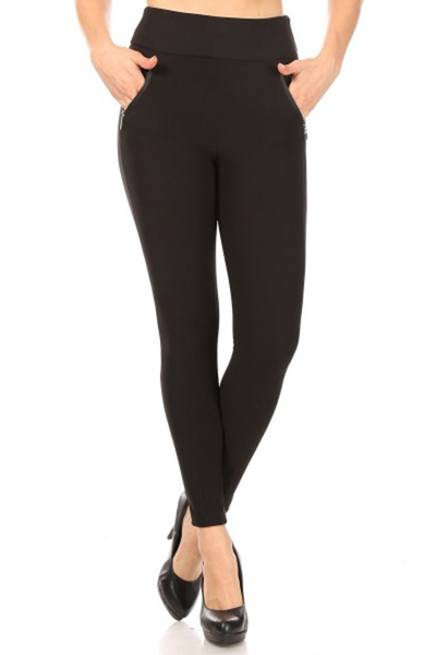 High Waist Sculpting Treggings Skinny Pants With Front Zipper Pockets